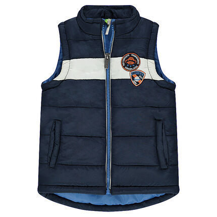 Sleeveless padded jacket with badge patches