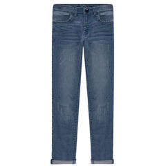 Junior - Used and crinkled-effect slim fit jeans