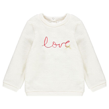 Fleece sweatshirt with embroidered message in front