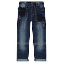 Distressed regular fit jeans with contrasting topstitching