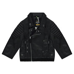 Imitation leather biker jacket with metallic rivets and printed text in back