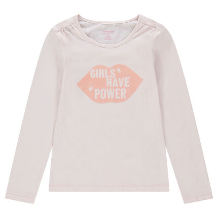 Junior - Long-sleeved plain-colored jersey tee-shirt with a sparkly printed mouth