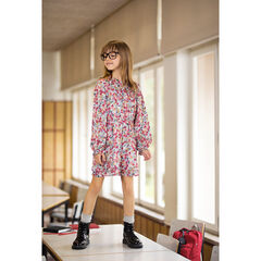 Junior - Long-sleeved dress with flowers and a trendy collar