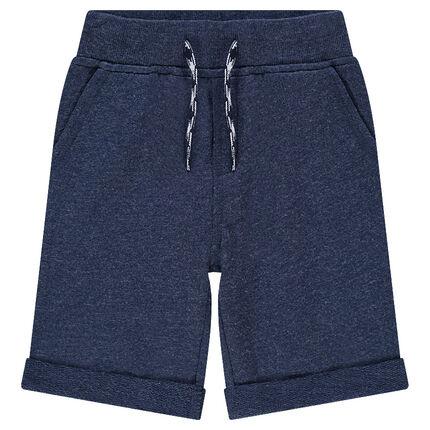 Plain-colored fleece bermuda shorts with pockets