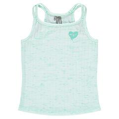 Junior - Rib jersey top in slub jersey with printed glitter heart