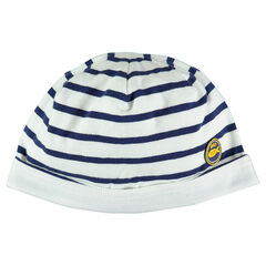Striped jersey beanie with rubber patch