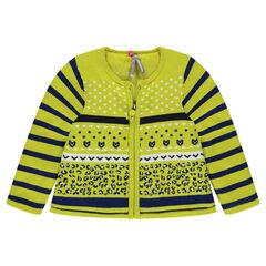 Sherpa-lined zipped knit cardigan with jacquard motifs