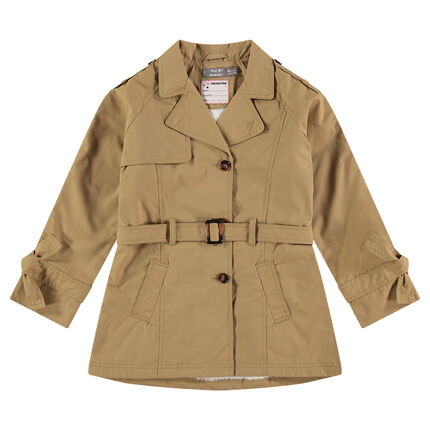 Sand-colored sherpa-lined trench coat with fancy embroideries