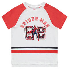 Short-sleeved tee-shirt with bands and a ©Marvel Spiderman print