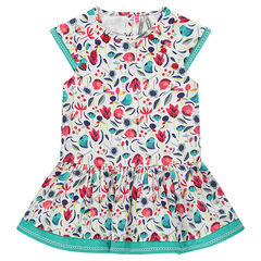 Short-sleeved dress with decorative print