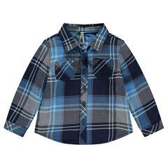 Long-sleeved checkered shirt