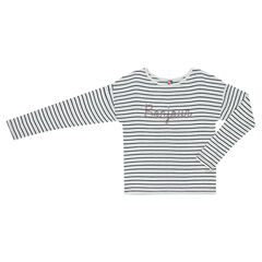 Junior - Long-sleeved, sailor-style tee-shirt with sequin embroideries