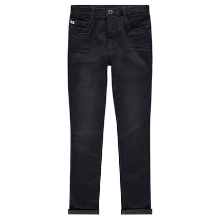 Junior - Used and crinkled-effect skinny fit jeans