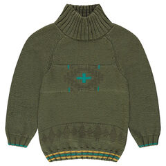 Knit sweater with high collar and jacquard motif