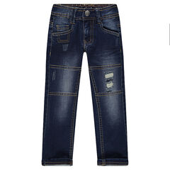Used and crinkled-effect slim fit jeans with pockets