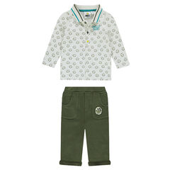 ©Smiley ensemble with a polo shirt with an allover print and fleece pants
