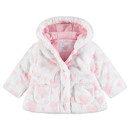Jersey-lined faux fur hooded jacket
