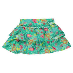 Printed mini-skirt with frills