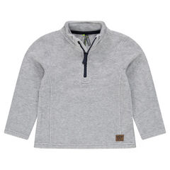 Plain-colored microfleece sweatshirt with zipped collar