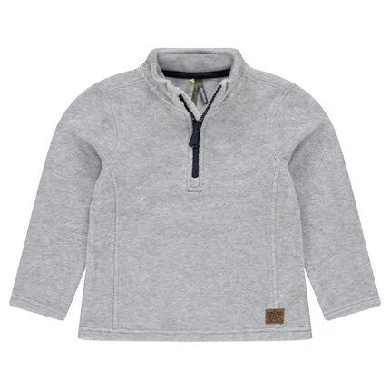 Junior - Plain Microfleece Sweatshirt with Zip Neck