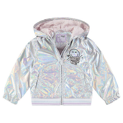 Jersey-lined iridescent jacket with embroidered ©Smiley motif