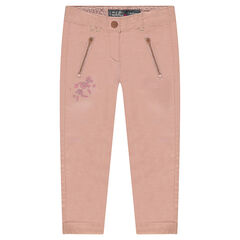 Cotton pants with embroidery and zipped pockets