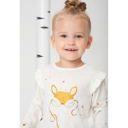 Long-sleeved slub jersey tee-shirt with sparkly printed fox