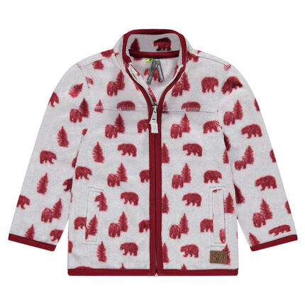 Microfleece jacket with pine trees and bears all over