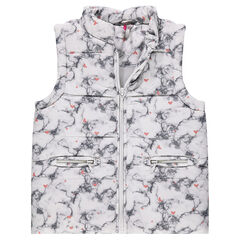 Sleeveless marbled-efect padded jacket with allover hearts