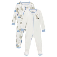 Set of 2 zipped jersey footed sleepers with printed rabbits bcd4142f3