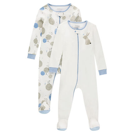 Set of 2 zipped jersey footed sleepers with printed rabbits
