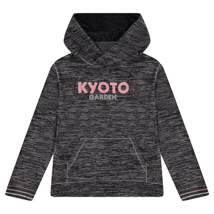 Junior - Hooded sweatshirt in thin knit fabric with printed texts