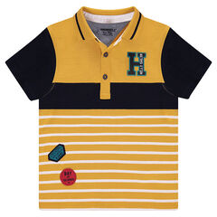 Short sleeve jersey polo shirt with patches and embroidered letter