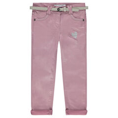 Slim fit muslin pants with sparkles and a removable belt