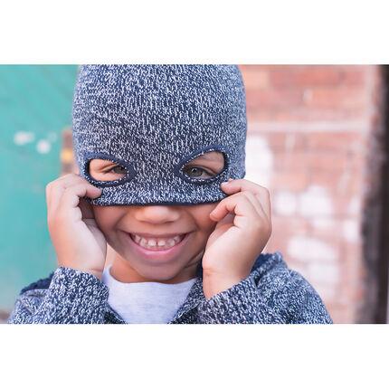 Heather knit mask-effect beanie
