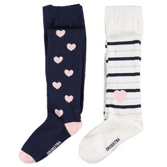 Set of 2 pairs of thick tights with jacquard hearts/stripes