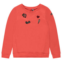 Junior - Fleece sweatshirt with embroidered and patched badges