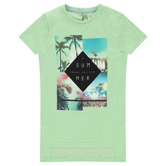 Junior - Short-sleeved long tee-shirt with printed landscapes