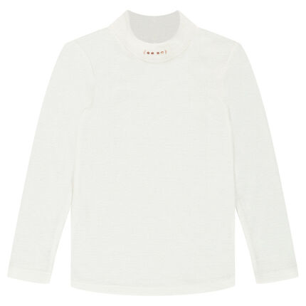 Fine ribbed mock-turtleneck sweater with embroidered motifs