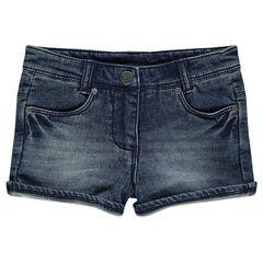 Denim-effect fleece shorts