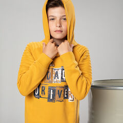 Junior - Fleece hooded sweatshirt with a decorative zipper and printed message