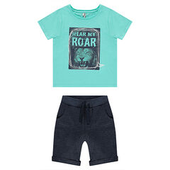 Beach outfit with tee-shirt featuring a printed lion and bermuda shorts