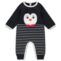 Velvet-lined knit jumpsuit with a jacquard penguin and stripes