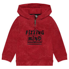 Faded fleece sweatshirt with hood and zip