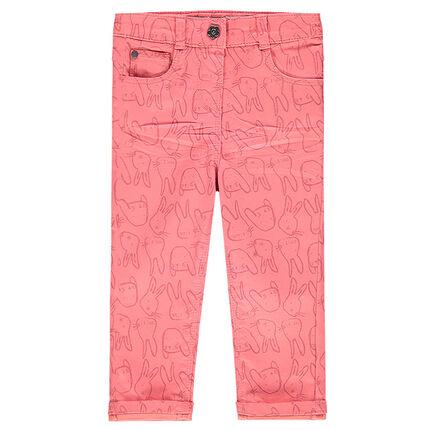 Slim pants with printed rabbits