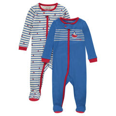 Set of 2 zipped striped jersey footed sleepers