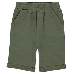 Slub fleece bermuda shorts