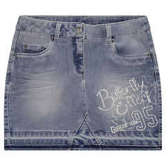 Junior - Used and crinkled-effect denim skirt with print