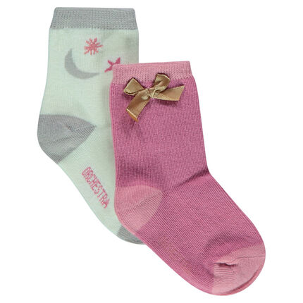 Set of 2 pairs of assorted socks with jacquard motif/satin bow