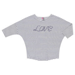 Junior - Striped tee-shirt with 3/4 sleeves